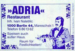 """1 Altes Gasthausetikett, Restaurant """"Adria"""", Inh. Ivan Naletilic, 1000 Berlin 44, Mareschstr. 1 #855 - Matchbox Labels"""