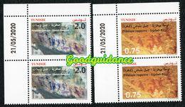 2020 - Tunisia - Rock Paintings: Djebel Ousselet ( Oueslatia) - Djebel Bliji (Tamaghza)- Pair- Set 2v.MNH** Dated Corner - Tunesië (1956-...)
