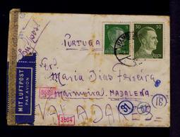 Censored Cover (red Cachet Nº3504, 5586) + (blue Circular Cachet 31, 61) Germany  Portugal VALLADARES 1943 WW2 Sp6929 - Seconda Guerra Mondiale
