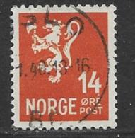 Norway, Scott # 194 Used Lion, 1941 - Oblitérés