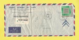 Lettre Recommandée Du Laos De Ventiane RP Le 26 12 66 Pour Paris Timbre UNESCO Lettre Agent CITROÊN AU LAOS Voir Scanner - Laos
