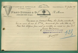 24 Couze Saint Front PRAT - DUMAS Papiers à Filtrer Filtres A Plat ( Logo Filtres ) 27 Juillet 1905 - Imprimerie & Papeterie