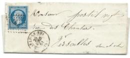 N° 14 BLEU NAPOLEON SUR LETTRE / MARLY LE ROI POUR VERSAILLES / 20 AVRIL 1861 - 1849-1876: Période Classique