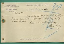 24 Couze Saint Front Papiers à La Forme Buvards Et Papier Sans Colle PRAT 19 08 1905 - Imprimerie & Papeterie