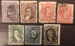 ARGENTINA ARGENTINE  1867 - 1873, Grandes Figures, 7 Timbres Nuances VARIETES ,Yvert 16,17,18,18 A,19,20,23,obl TTB - Argentina