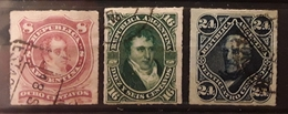 ARGENTINA ARGENTINE  1876 - 1878, Grandes Figures, 3 Timbres PERCES EN LIGNES  ,Yvert  33, 34, 36 ,obl TTB - Argentina