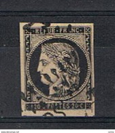 FRANCE:  1849  CERES  -  20 C. NOIR / JAUNE  OBL. -  FAKE  COPY  -  YV/TELL. ( 3 ) - 1849-1850 Ceres