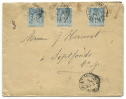 15c SAGE SUR LETTRE / VILLEFRANCHE DE ROUERGUE AVEYRON POUR SEPTFONDS / 1898 - Storia Postale