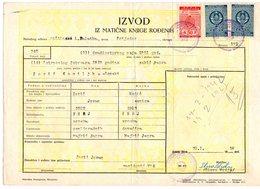 1958 YUGOSLAVIA,BOSNIA,PRIJEDOR,50 DIN. LUŠCI PALANKA MUNICIPALITY STAMP,2 STATE REVENUE STAMPS,BIRTH CERTIFICATE - Covers & Documents