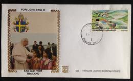 Thailand, Uncirculated FDC, « POPE John Paul II», « Far East Visit Thailand », 1984 - Tailandia