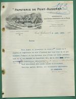 27 Pont Audemer Papeterie Compagnie De La Risle ( Logo Usine Train Bateau Gabarre Peniche ) 9 Aout 1905 - Printing & Stationeries