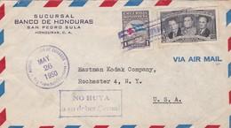 """BANCO DE HONDURAS. ENVELOPPE CIRCULEE DE SAN PEDRO SULA A ROCHESTER, ETATS UNIS 1950 """"NO HUYA A SU DEBER CENSAL"""" -LILHU - Honduras"""