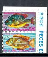 Timbre Oblitéré - Guinée Equatoriale / Guinéa - Poissons / Fish - Paire - Lepomis Megalotis, Etroplus Maculatus - (2) - Equatoriaal Guinea