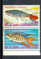 Timbre Oblitéré - Guinée Equatoriale / Guinéa - Poissons / Fishes - Aphyosemion Caeruleum, Macropodus Opercularis - Equatoriaal Guinea