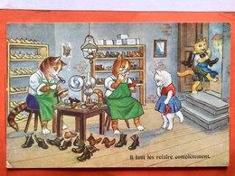 CPA.Humour. Chats Habillées Cordonnerie.Il Faut Les Refaire Complètement.   (D1.700) - Cats