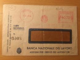 BUSTA COMMERCIALE-BANCA NAZIONALE DEL LAVORO-5-12-1940-RARO ANNULLO MECCANICO ROSSO - 4. 1944-45 Social Republic