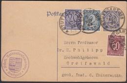 1922 Stuttgart - Greifswald Infla Dienst Ganzsache Mit Zusatz Frankatur  (26274 - Brieven