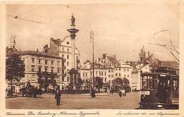 POLOGNE - WARSZAWA - PLAC ZAMKOWY KOLUMNA ZYGMUNT - TRAMWAY - Pologne