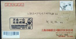 CHINA CHINE CINA  SHANGHAI  TO JIANGSU WUJIANG COVER  WITH  ANTI COVID-19 INFORMATION - 1949 - ... People's Republic