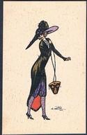 B114 ART DECO A/s NAILLOD FEMME MODE CHAPEAU SAC à MAIN HIGH FASHION LADY HAT HANDBAG - Naillod