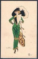 B115 ART DECO A/s NAILLOD FEMME MODE CHAPEAU SAC à MAIN HIGH FASHION LADY HAT HANDBAG - Naillod