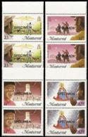 MONTSERRAT 1985 Christmas MARG. PAIRS:4 Xmas Donkeys Goats Angel - Montserrat