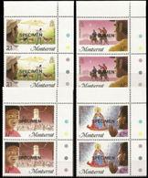 MONTSERRAT 1985 Christmas CORNER PAIRS:4 Xmas Donkeys Goats Angel - Montserrat