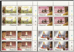 MONTSERRAT 1985 Christmas CORNER 4-BLOCKS:4 Xmas Donkeys Goats Angel - Montserrat