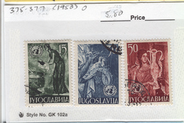 YUGOSLAVIA 1953 United Nations, Used, Scott Cat. No(s). 375-377 - 1945-1992 Socialist Federal Republic Of Yugoslavia