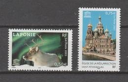 FRANCE / 2003 / Y&T SERVICE N° 128/129 ** : UNESCO (Laponie/Saint-Pétersbourg) X 1 Paire - Mint/Hinged