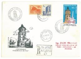 COV 98 - 3080 FIREMEN Tower, Romania - Registered Cover - Used - 1992 - Firemen