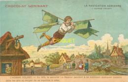 Publicité Illustrée, Chocolat Lombart, Navigation Aérienne, En 1673,  L'homme Volant - Publicité