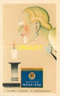 Publicité Illustrée Par Vincent, Cigarettes Week-end, Profil De Femme Et Bougie - Publicité