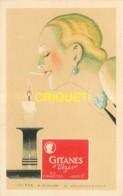 Publicité Illustrée Par Vincent, Cigarettes Gitanes Vizir, Profil De Femme Et Bougie - Publicité