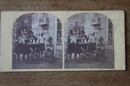 Photo Stéréoscopique  Second Empire  Les Artistes  Scène De Theatre - Stereoscopic
