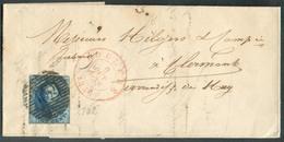 N°7 - Médaillon 20 Centimes Bleu, Marges étroites, Obl. P.102 Sur Lettre De ROULERS Le 9 Octobre 1856 Vers Clermont (via - 1851-1857 Medallones (6/8)