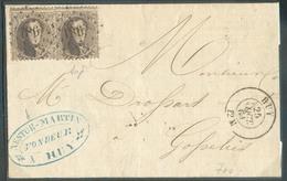N°14(paire) Obl. LP. 186 Sur Devant De HUY Le 25 Oct. 1864 Vers Gosselies - 15638 - 1863-1864 Médaillons (13/16)