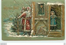 N°10780 - Carte Fantaisie Gaufrée - Joyeux Noël - Père Noël Et Fillette - Noël