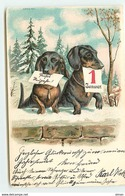 N°14030 - Carte Gaufrée - Teckels - 1er Janvier - Dachshund - Dackel - Nouvel An