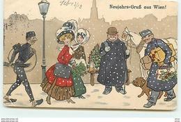 N°12979 - Neujahrs Gruss Aus Wien - Personnes Sous La Neige - Bouledogue - Nouvel An