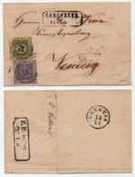 BADEN - BADE - KARLSRUHE / 1853 - Mi # 2 & 4  AUF FALTBRIEF NACH VENEDIG - VENISE (ref 5599) - Baden