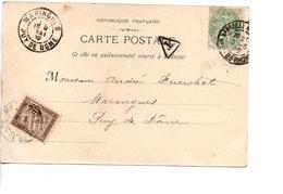 Sur CP, Cachets Postaux MARINGUES PUY DE DOME 1902 Avec Cachet  Et Timbre Taxe - Storia Postale