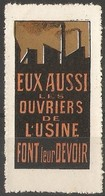 France - Factory Workers Poster Stamp - Commemorative Labels