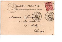 Sur CP, Cachets Postaux AVALLON YONNE Et ST HILAIRE PEYROUX AUBAZINE CORREZE 1903 - Storia Postale