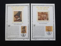 """BELG.1993 2489 & 2490 : """" HET BELGISCH RODE KRUIS """" NL.versie ,Luxe Kunstbladen Zijde , 5/200 Exemplaren Limiet - FDC"""