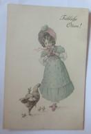 Ostern, Kinder, Mode, Hutmode, Küken, Huhn,    1909, Munk Vienne ♥ (23854) - Künstlerkarten