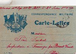 """CL-  """"  Correspondance Militaire  """"- 4 Drapeaux - - Storia Postale"""