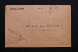FRANCE - Enveloppe En FM De Alençon Pour Paris En 1909 - L 62142 - Storia Postale