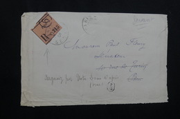 FRANCE  - Etiquette De Recommandé De Paris Sur Devant D' Enveloppe En 1908 Pour Paris Et Redirigé  - L 62145 - Storia Postale