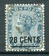 Ceylon 1885 QV Surcharges - Wmk. Crown CA - Perf. 14 - 28c On 32c Slate Used (SG 190) - Ceylon (...-1947)
